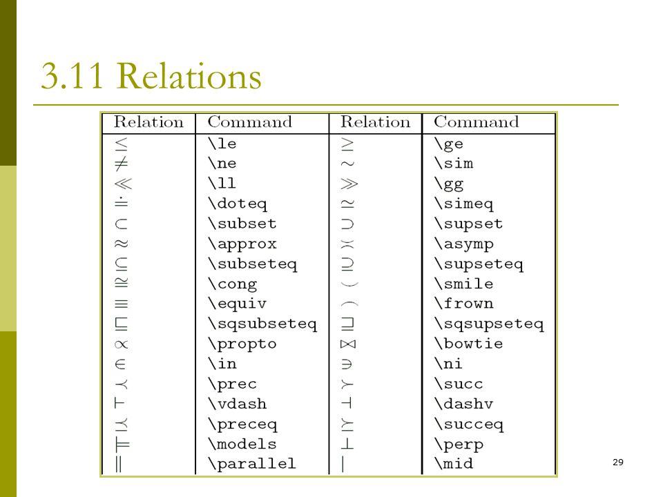 29 3.11 Relations