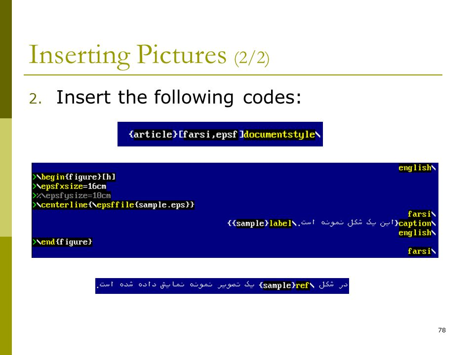 78 Inserting Pictures (2/2) 2. Insert the following codes: