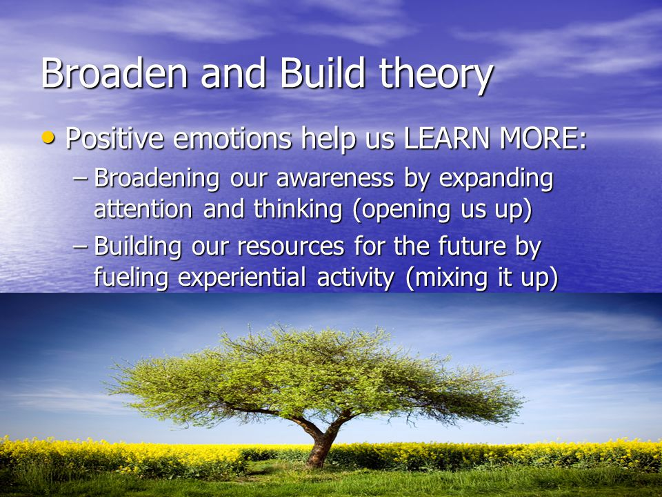 Broaden and Build theory Positive emotions help us LEARN MORE: Positive emotions help us LEARN MORE: –Broadening our awareness by expanding attention
