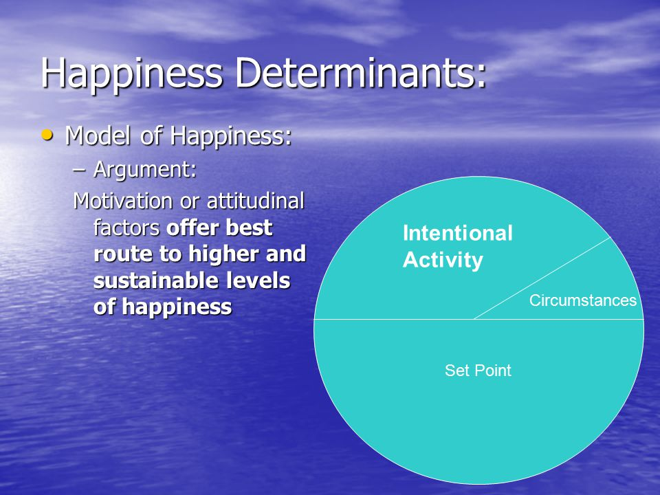 Happiness Determinants: Model of Happiness: Model of Happiness: –Argument: Motivation or attitudinal factors offer best route to higher and sustainabl