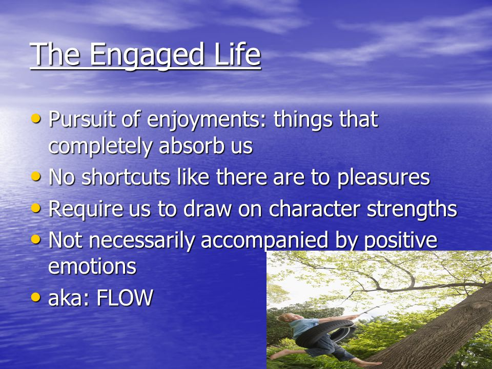 The Engaged Life Pursuit of enjoyments: things that completely absorb us Pursuit of enjoyments: things that completely absorb us No shortcuts like the