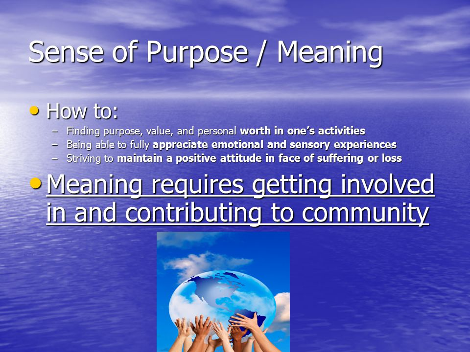 Sense of Purpose / Meaning How to: How to: –Finding purpose, value, and personal worth in one's activities –Being able to fully appreciate emotional a