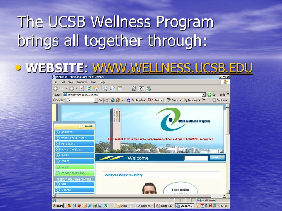 The UCSB Wellness Program brings all together through: WEBSITE: WWW.WELLNESS.UCSB.EDU WEBSITE: WWW.WELLNESS.UCSB.EDUWWW.WELLNESS.UCSB.EDU