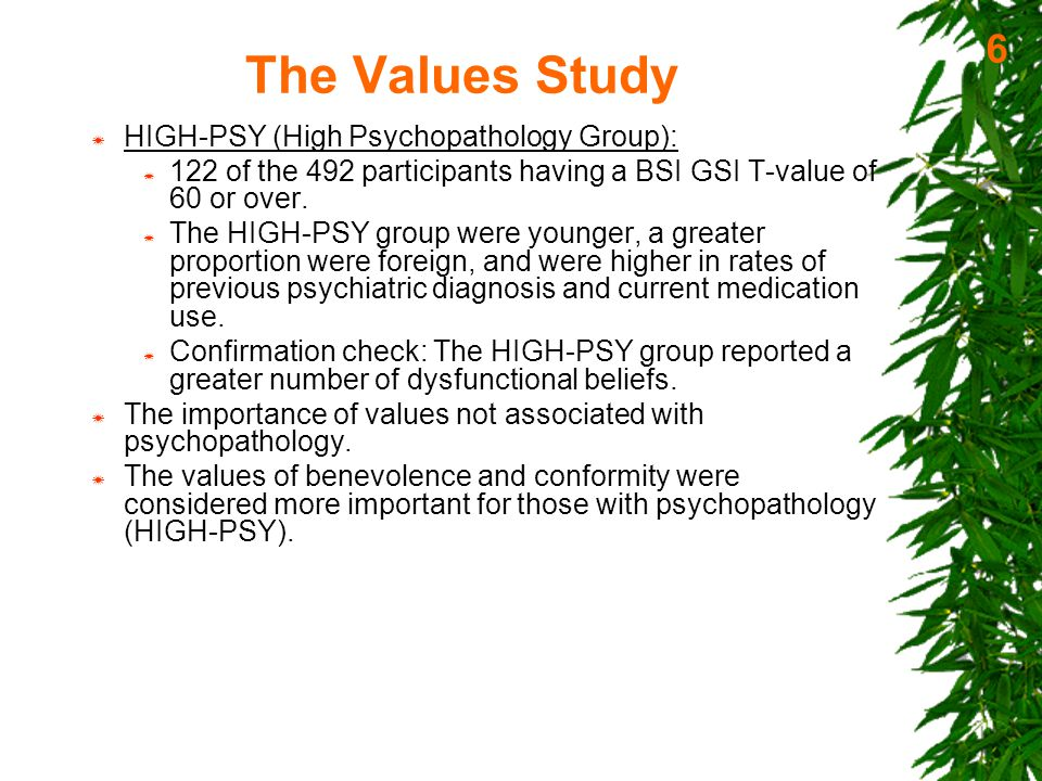 The Values Study  LOW-PSY know values more and live in alignment with their value more than HIGH-PSY.