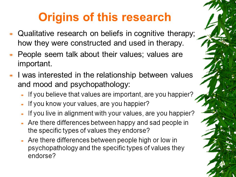 The history of values in psychology  The concept of values became a research focus for scholars in the early 1930's.