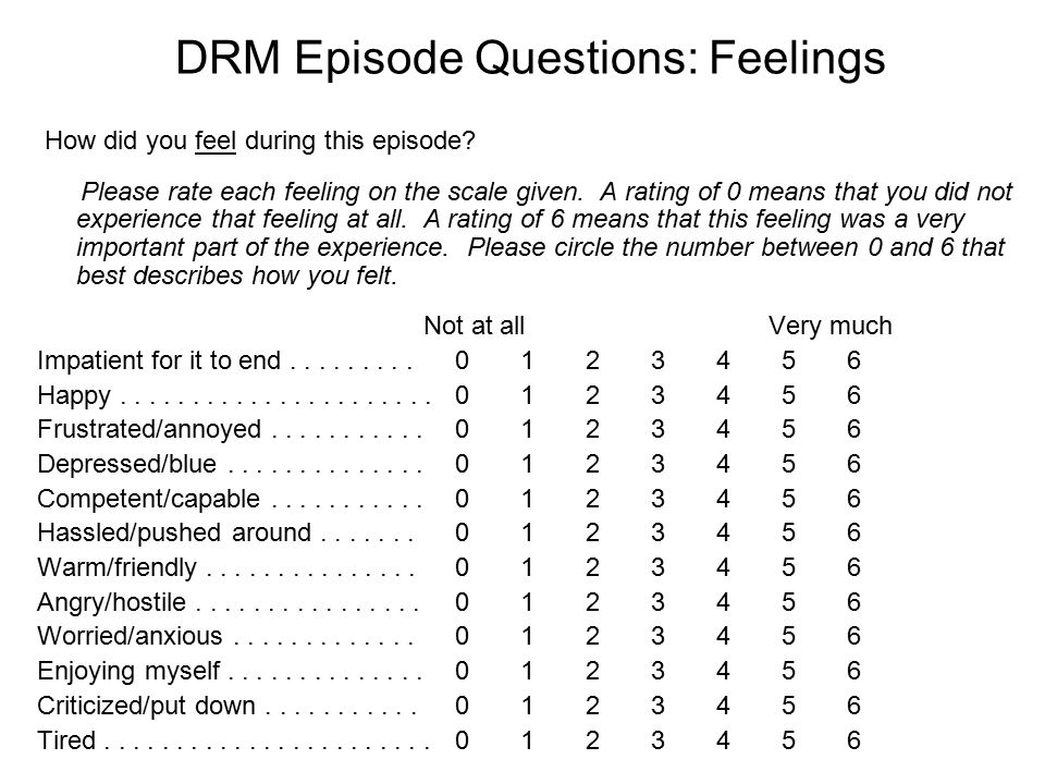 DRM Episode Questions: Feelings How did you feel during this episode.