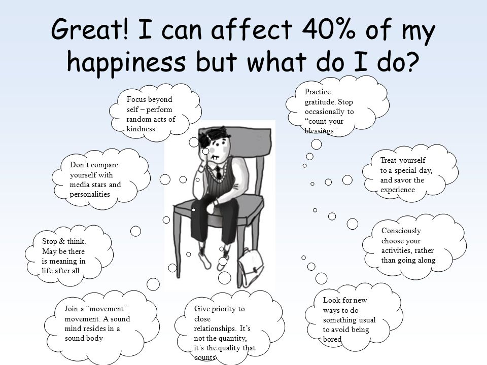 Great.I can affect 40% of my happiness but what do I do.