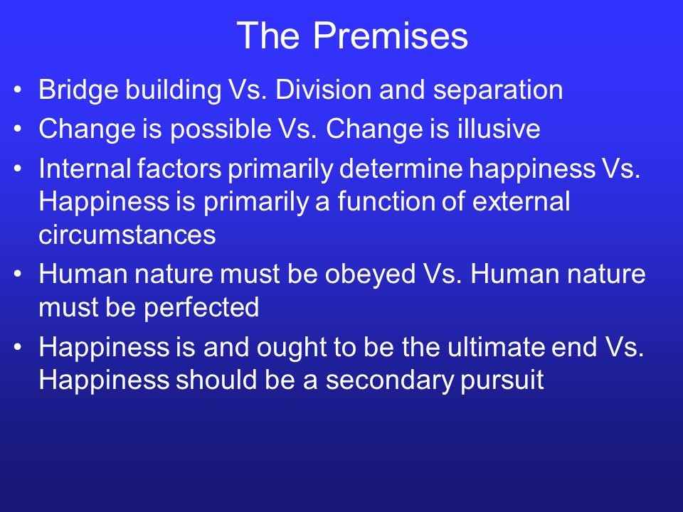 The Premises Bridge building Vs. Division and separation Change is possible Vs.