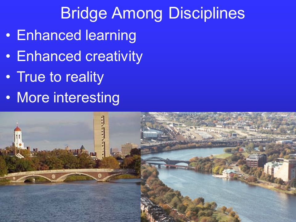 Bridge Among Disciplines Enhanced learning Enhanced creativity True to reality More interesting