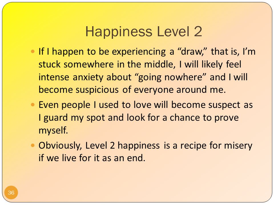 Happiness Level 2 On days I feel like a loser, I will become bitter and jealous at the successes of other people.