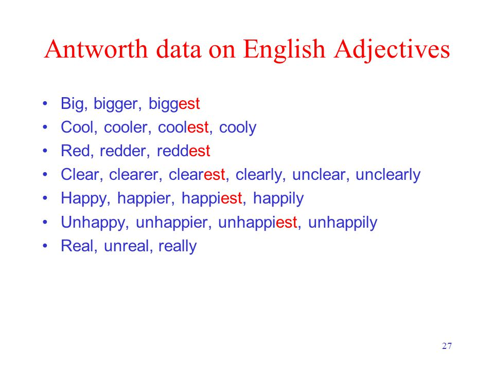 27 Antworth data on English Adjectives Big, bigger, biggest Cool, cooler, coolest, cooly Red, redder, reddest Clear, clearer, clearest, clearly, uncle