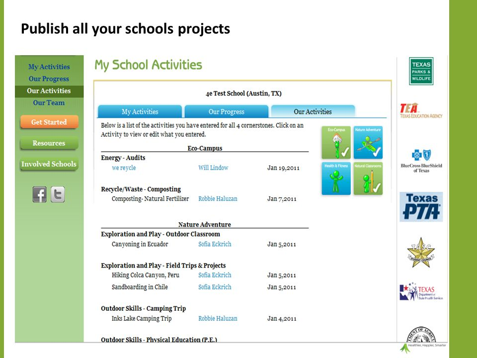 Publish all your schools projects