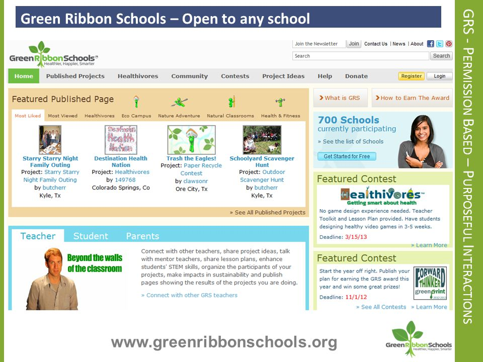 U SING THE W EBSITE Using the Program Website – Resources and Ideas www.greenribbonschools.org