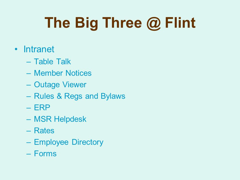 The Big Three @ Flint Intranet –Table Talk –Member Notices –Outage Viewer –Rules & Regs and Bylaws –ERP –MSR Helpdesk –Rates –Employee Directory –Forms