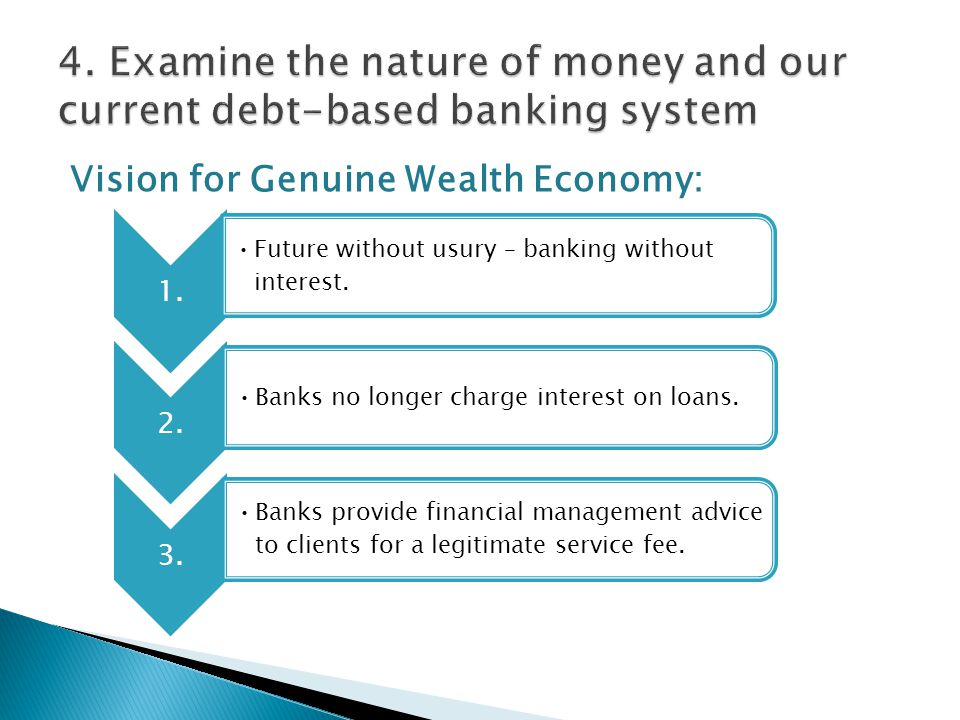 Vision for Genuine Wealth Economy: 1. Future without usury – banking without interest.