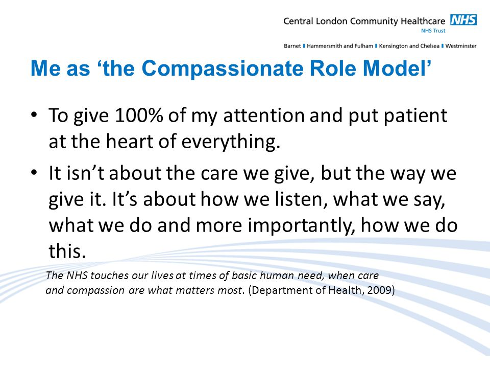 Me as 'the Compassionate Role Model' To give 100% of my attention and put patient at the heart of everything.