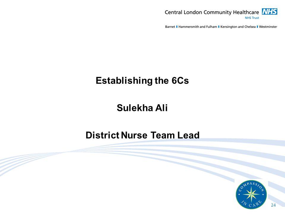 Establishing the 6Cs Sulekha Ali District Nurse Team Lead 24