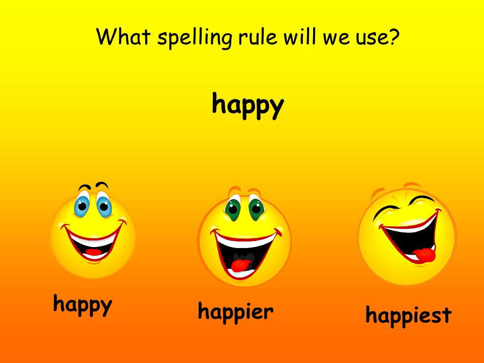 What spelling rule will we use? happy happier happiest