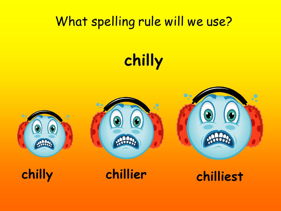 What spelling rule will we use? chilly chillier chilliest