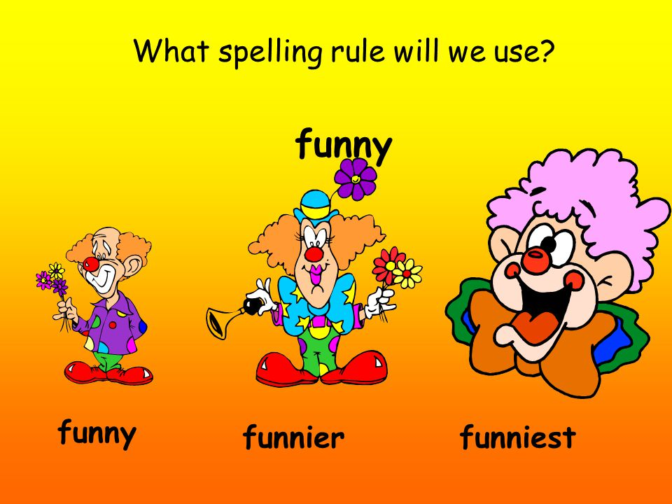 What spelling rule will we use? funny funniestfunnier