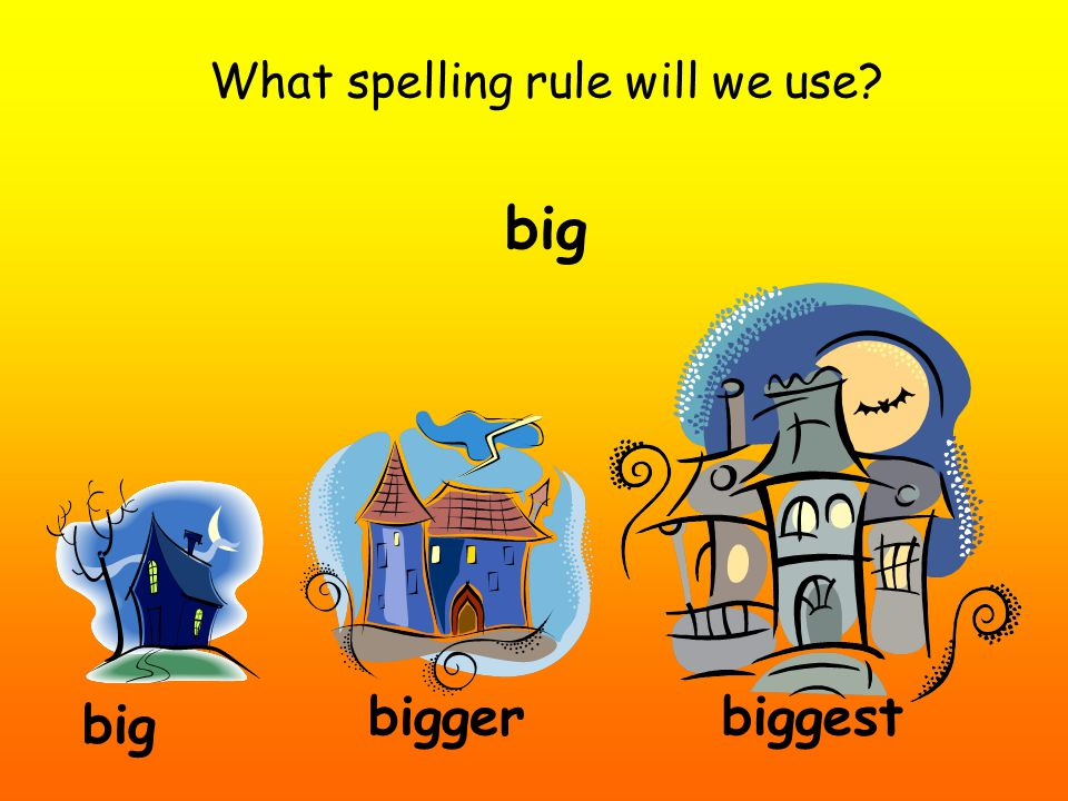 What spelling rule will we use? big biggerbiggest