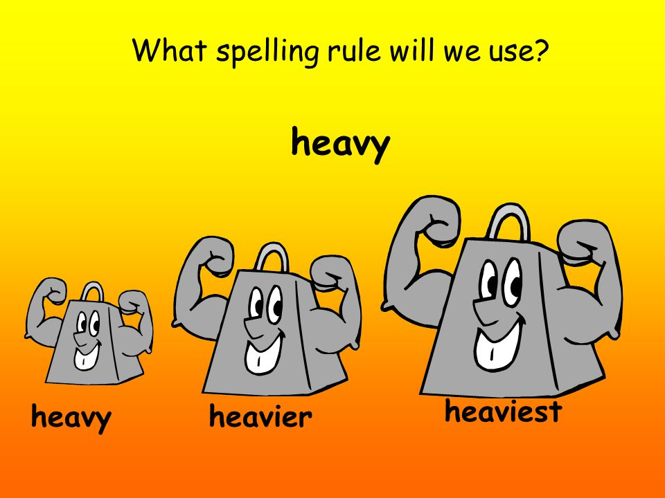 What spelling rule will we use? heavy heavier heaviest