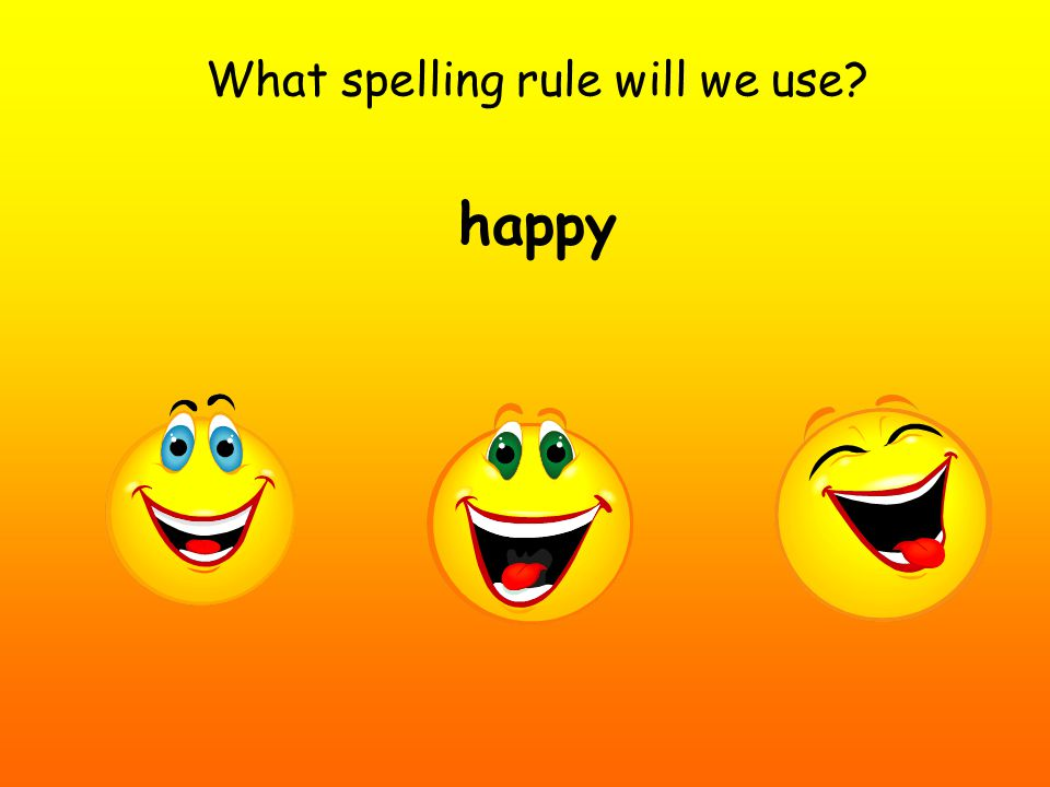 What spelling rule will we use happy