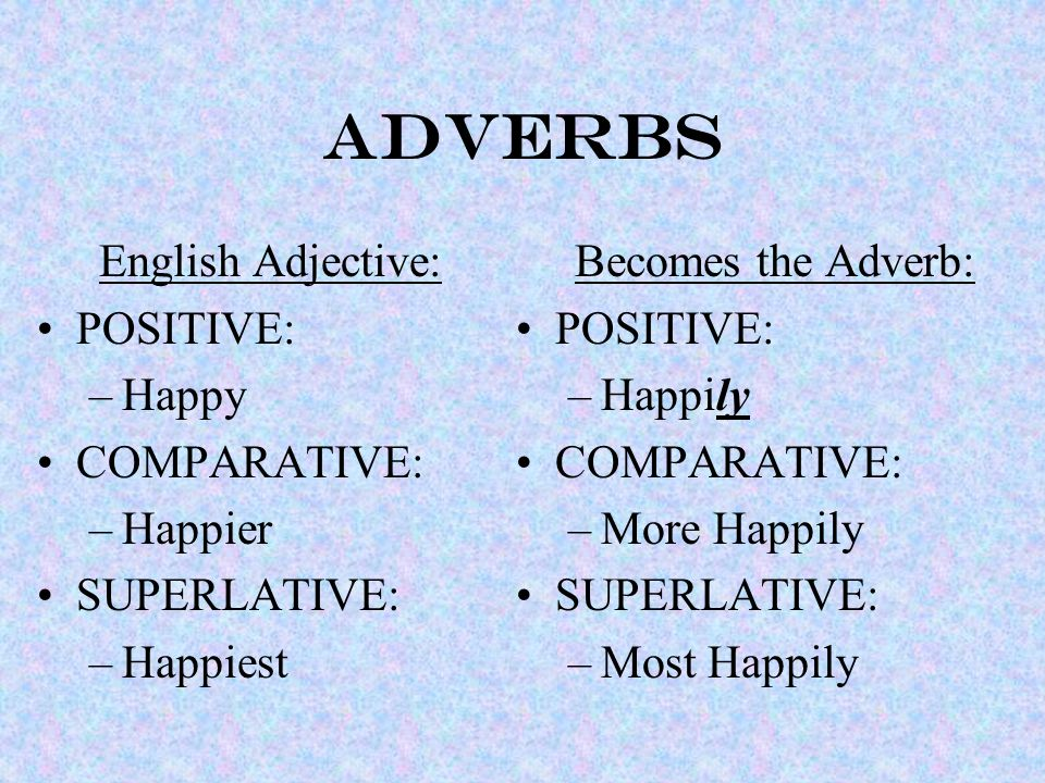 ADVERBS English Adjective: POSITIVE: –Happy COMPARATIVE: –Happier SUPERLATIVE: –Happiest Becomes the Adverb: POSITIVE: –Happily COMPARATIVE: –More Happily SUPERLATIVE: –Most Happily