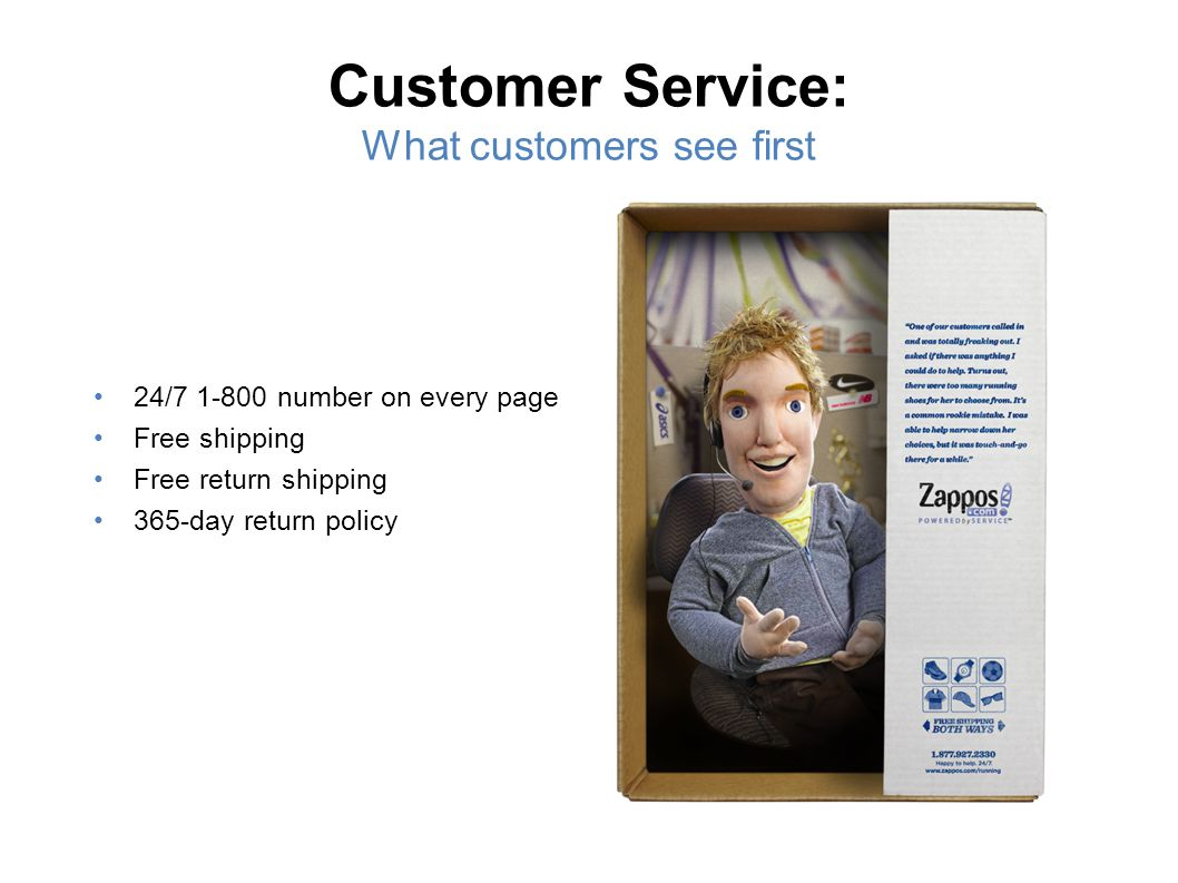 Customer Service: What customers see first 24/7 1-800 number on every page Free shipping Free return shipping 365-day return policy 25