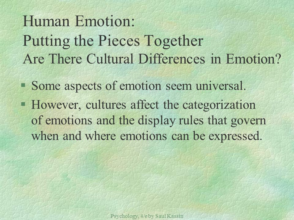 Psychology, 4/e by Saul Kassin ©2004 Prentice Hall Human Emotion: Putting the Pieces Together Are There Cultural Differences in Emotion? §Some aspects