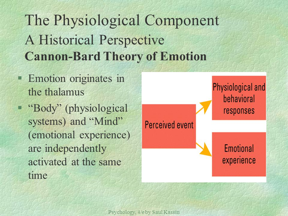 Psychology, 4/e by Saul Kassin ©2004 Prentice Hall The Physiological Component A Historical Perspective Cannon-Bard Theory of Emotion §Emotion origina