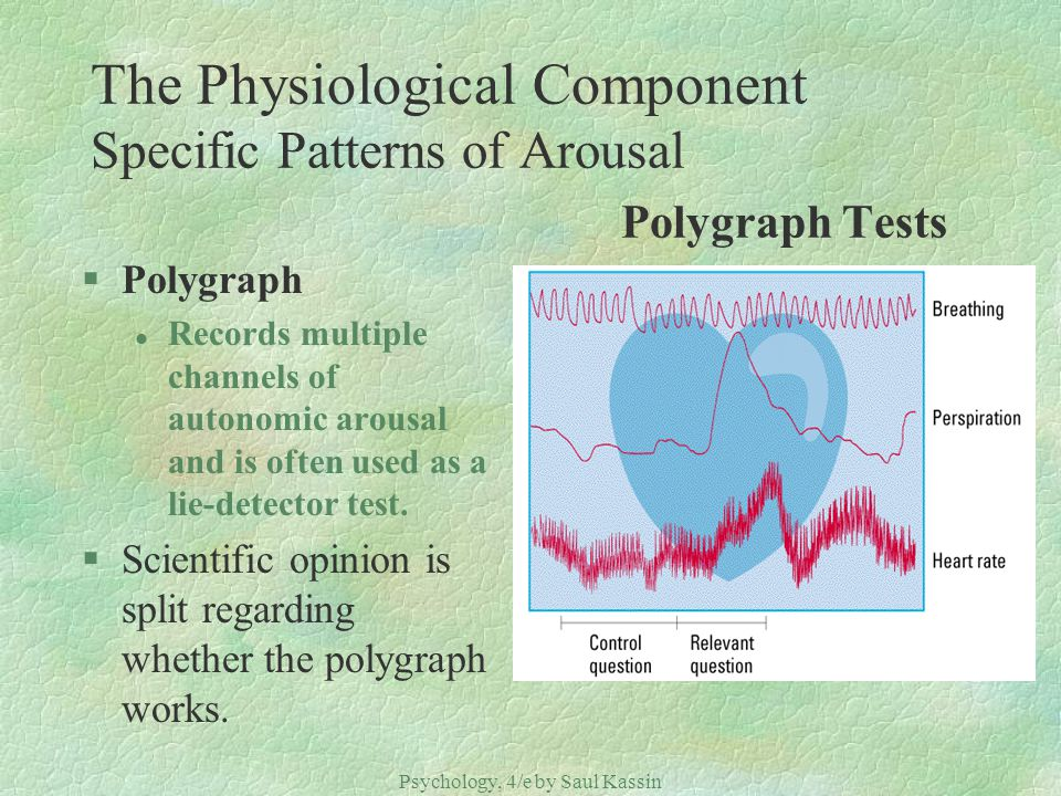 Psychology, 4/e by Saul Kassin ©2004 Prentice Hall The Physiological Component Specific Patterns of Arousal Polygraph Tests §Polygraph l Records multi