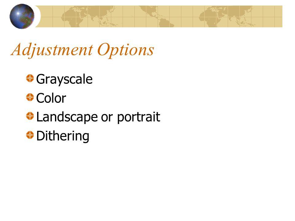 Adjustment Options Grayscale Color Landscape or portrait Dithering