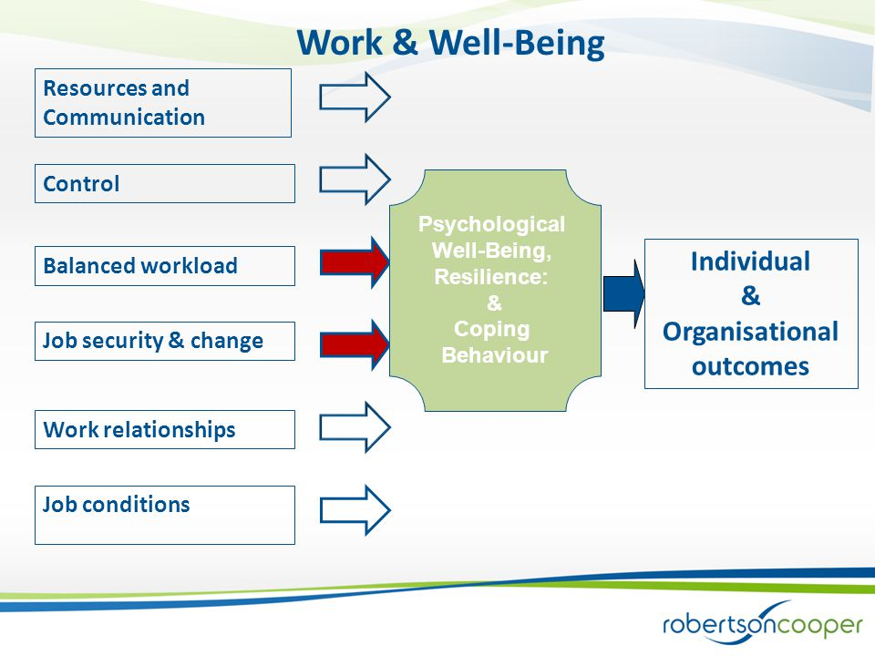 Resources and Communication Control Balanced workload Job security & change Work relationships Job conditions Psychological Well-Being, Resilience: & Coping Behaviour Individual & Organisational outcomes Work & Well-Being