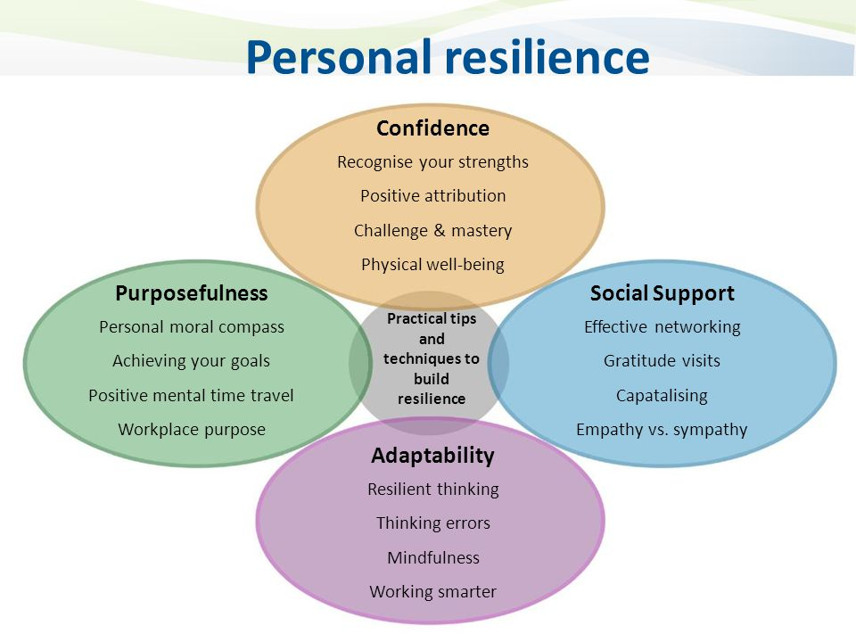 Practical tips and techniques to build resilience Confidence Recognise your strengths Positive attribution Challenge & mastery Physical well-being Purposefulness Personal moral compass Achieving your goals Positive mental time travel Workplace purpose Social Support Effective networking Gratitude visits Capatalising Empathy vs.