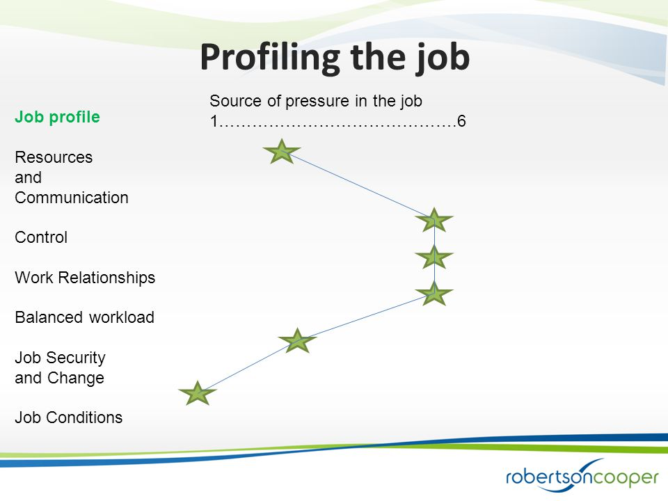 Job profile Resources and Communication Control Work Relationships Balanced workload Job Security and Change Job Conditions Source of pressure in the job 1…………………………………….6 Profiling the job