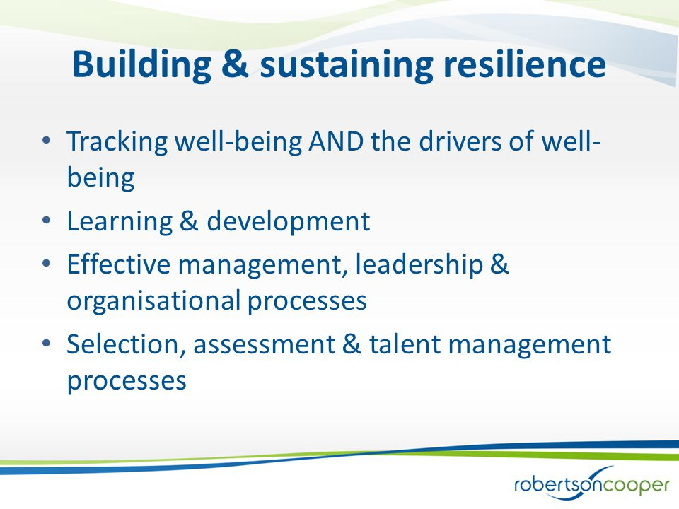 Building & sustaining resilience Tracking well-being AND the drivers of well- being Learning & development Effective management, leadership & organisational processes Selection, assessment & talent management processes