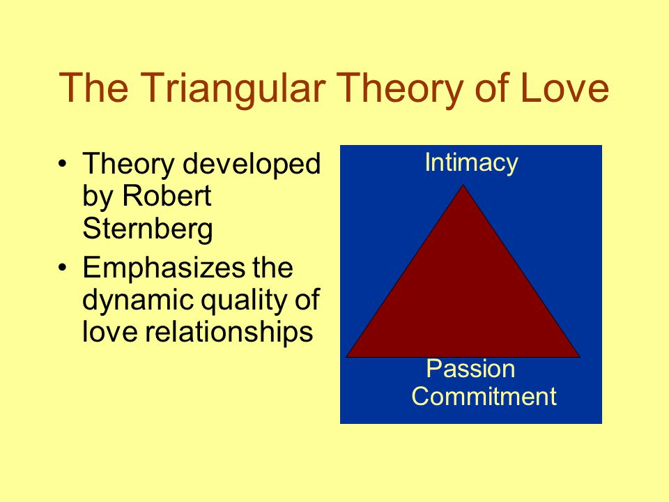 The Triangular Theory of Love Theory developed by Robert Sternberg Emphasizes the dynamic quality of love relationships Intimacy Passion Commitment