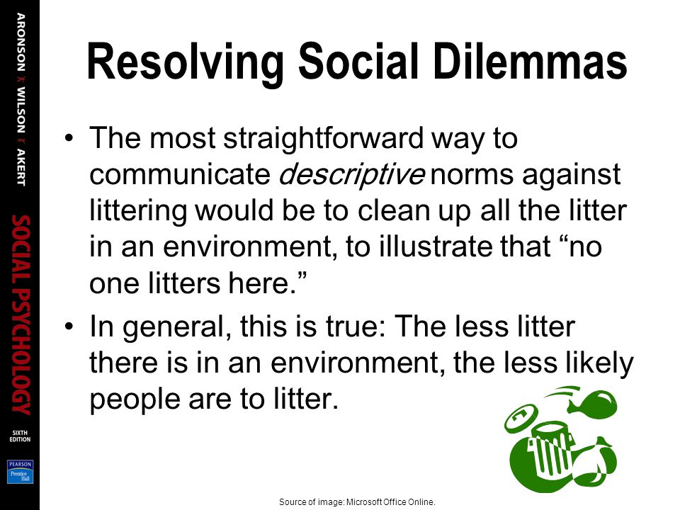 Resolving Social Dilemmas The most straightforward way to communicate descriptive norms against littering would be to clean up all the litter in an environment, to illustrate that no one litters here. In general, this is true: The less litter there is in an environment, the less likely people are to litter.