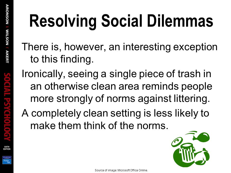 Resolving Social Dilemmas There is, however, an interesting exception to this finding.