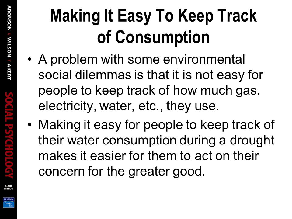 Making It Easy To Keep Track of Consumption A problem with some environmental social dilemmas is that it is not easy for people to keep track of how m