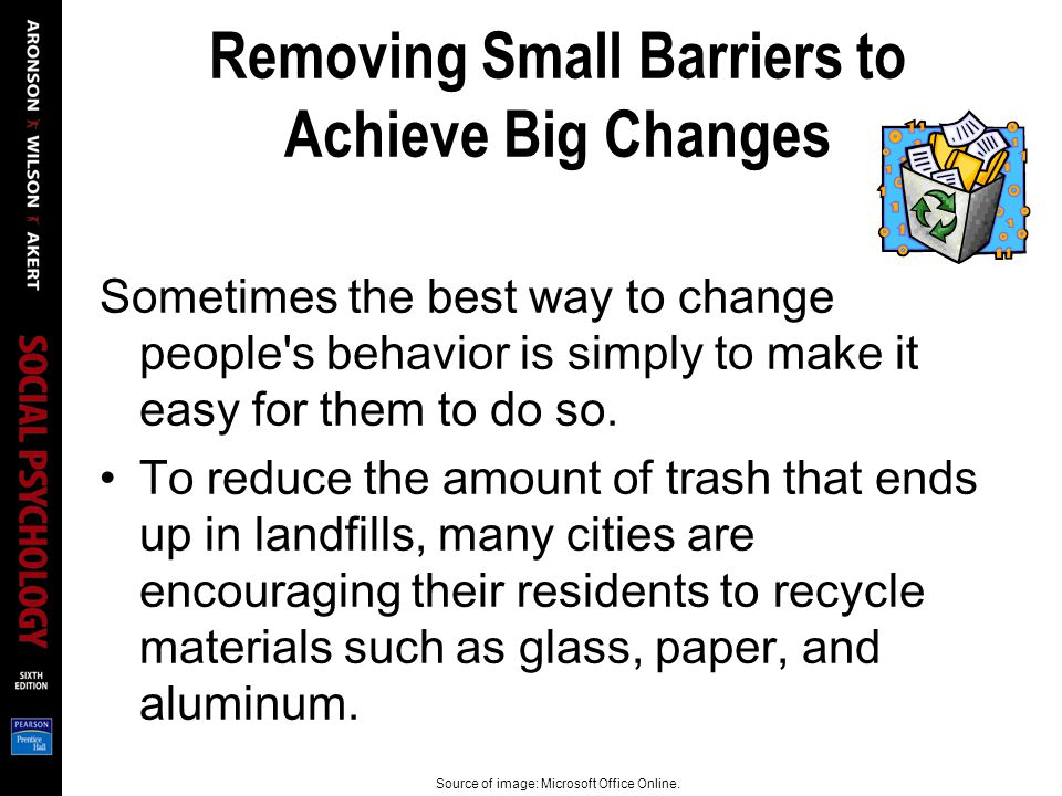 Removing Small Barriers to Achieve Big Changes Sometimes the best way to change people's behavior is simply to make it easy for them to do so. To redu
