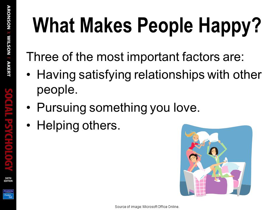What Makes People Happy? Three of the most important factors are: Having satisfying relationships with other people. Pursuing something you love. Help