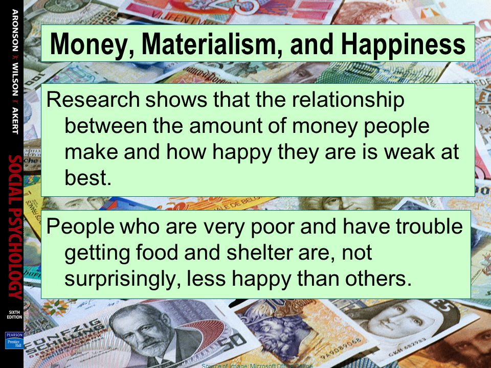 Money, Materialism, and Happiness Research shows that the relationship between the amount of money people make and how happy they are is weak at best.