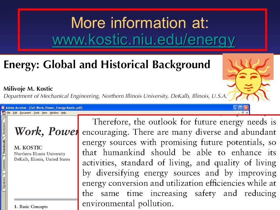More information at: www.kostic.niu.edu/energy 2000 kcal/day  100 Watt World Prod.