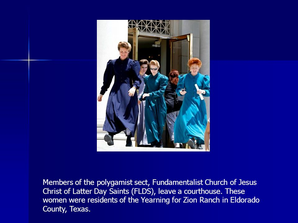 Members of the polygamist sect, Fundamentalist Church of Jesus Christ of Latter Day Saints (FLDS), leave a courthouse.