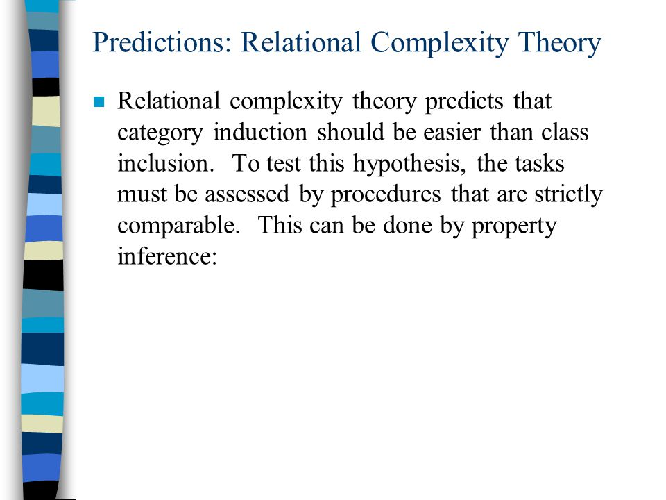 Predictions: Relational Complexity Theory n Relational complexity theory predicts that category induction should be easier than class inclusion.