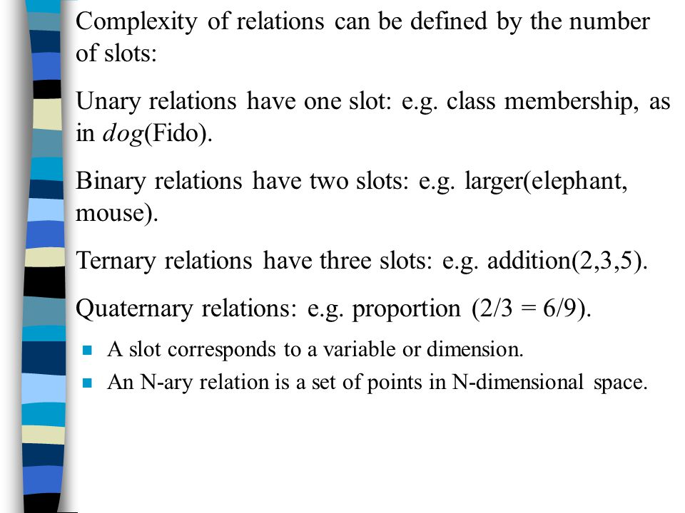 n A slot corresponds to a variable or dimension. n An N-ary relation is a set of points in N-dimensional space. Complexity of relations can be defined
