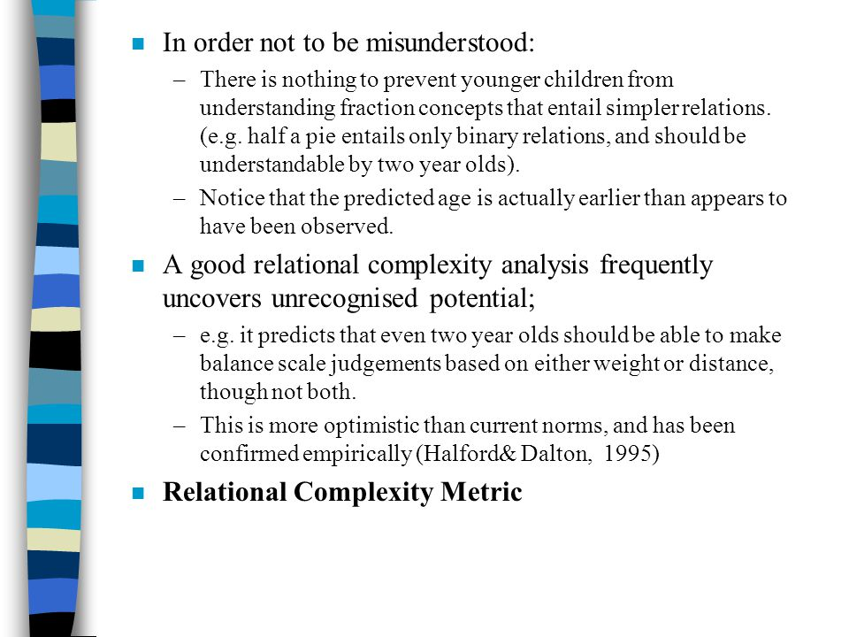 n In order not to be misunderstood: –There is nothing to prevent younger children from understanding fraction concepts that entail simpler relations.