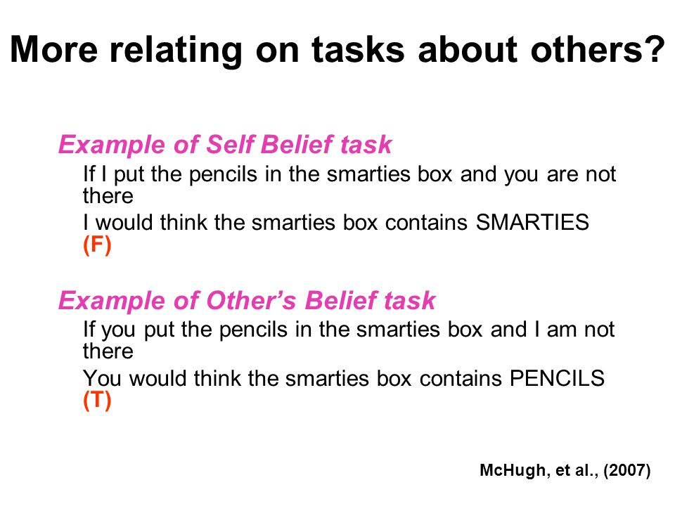 More relating on tasks about others? Example of Self Belief task If I put the pencils in the smarties box and you are not there I would think the smar